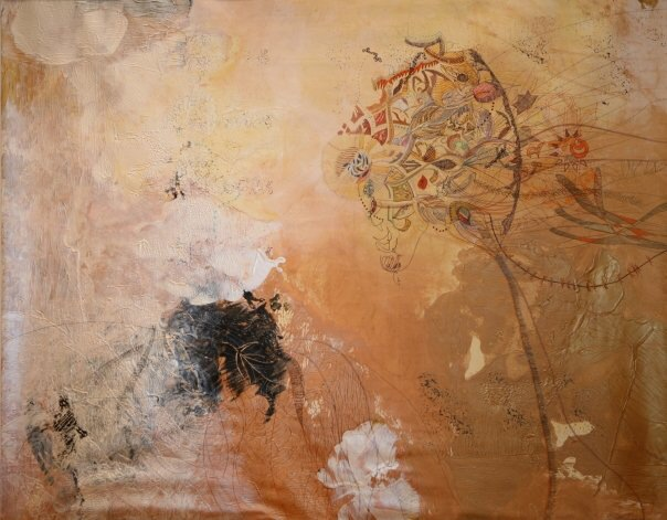 mixed media on canvas, 60 x 75 inches, private collection