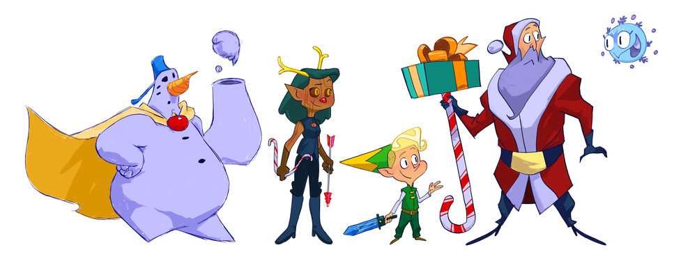 Character lineup from a Christmas short story. A lost little snowflake is finds Santa and his crew. They all go on a journey to protect the little snowflake as she rejoins her flurry and each of them learn a little something on the way!