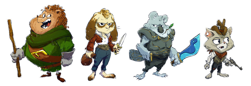 Thumbnail ideas for animalistic characters set in an older time.