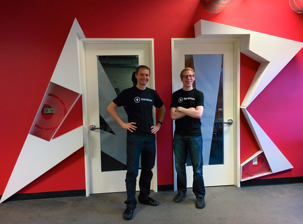 "Momchil Kyurkchiev and Andrew First, in front of their conference rooms ""A"" and ""B"" for A/B testing (Now, ""A"" is also for series A round)"
