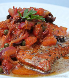 Butter Poached Salmon with Warm Tomato Relish by Sarah Fragoso