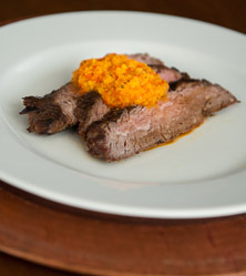 Steak with Bell Pepper Coulis