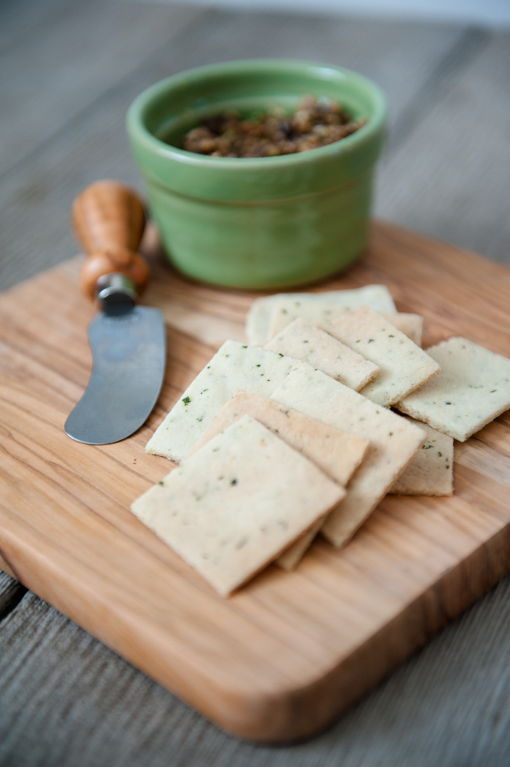 Olive Oil Thyme Crackers (with an olive tapenade from elanaspantry.com)