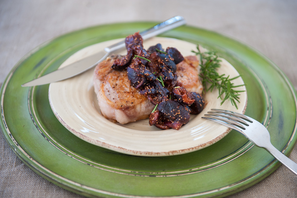 Pork Chops with Bacon Fig Sauce by Nourished App