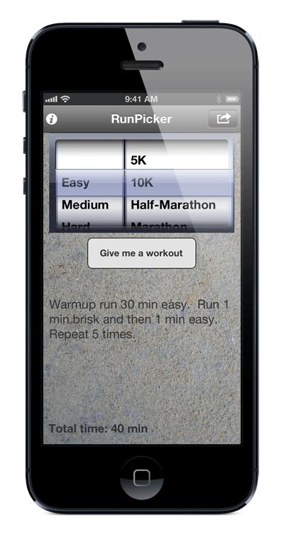 RunPicker iOS App for iPhone