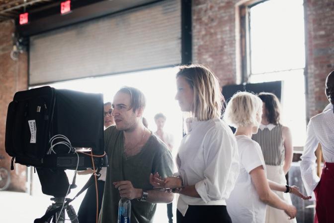 Misha Nonoo backstage filming her spring/summer 2016 insta-show
