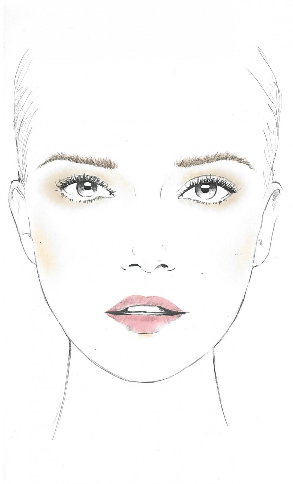 A face chart Sir John created using cosmetics from the L'Oreal Paris Icons Collection