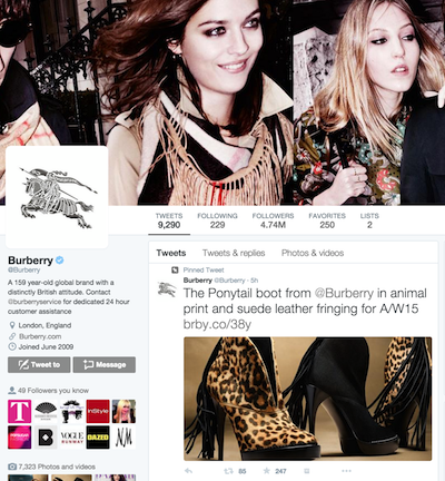 Burberry's Twitter Account