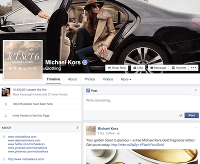 Michael Kors' Facebook Page