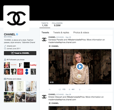 Chanel's Twitter Account
