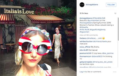 Dolce & Gabbana model selfie Instagram post during Milan Fashion Week