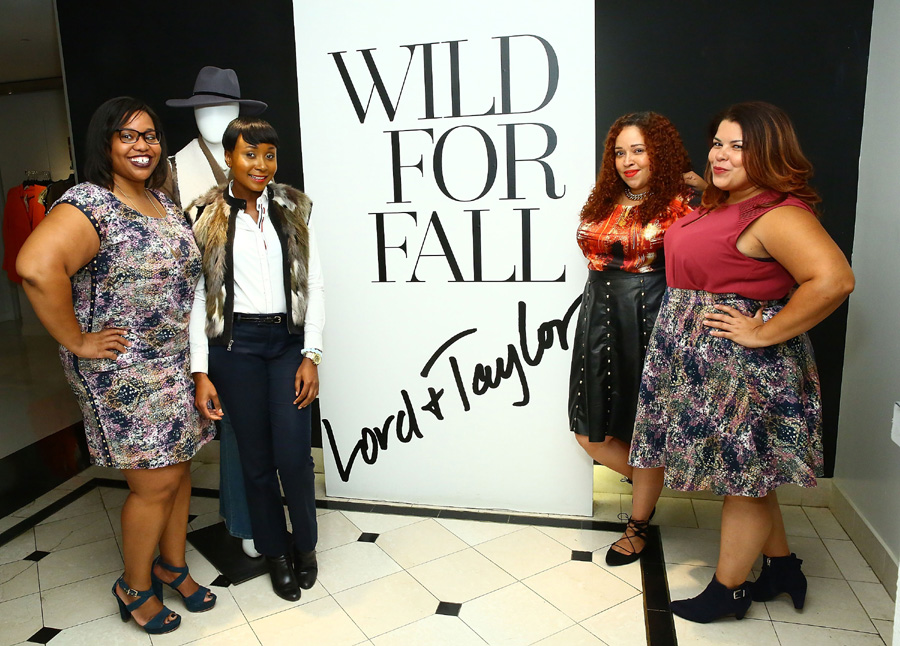 Bloggers Jamilyn Griggs of Style Over Size (far left), Sandra Negron of La Pecosa Preciosa and Darlene Lebron of Suits, Heels & Curves (right) at the Addition Elle Event with Nadia Aboulhosn at Lord & Taylor on October 7, 2015 in New York City. (Photo by Astrid Stawiarz/Getty Images for Lord & Taylor)