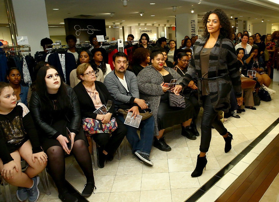 Models pose wearing The Nadia Aboulhosn x Addition Elle Capsule Collection during Addition Elle Event With Nadia Aboulhosn At Lord & Taylor on October 7, 2015 in New York City. (Photo by Astrid Stawiarz/Getty Images for Lord & Taylor)