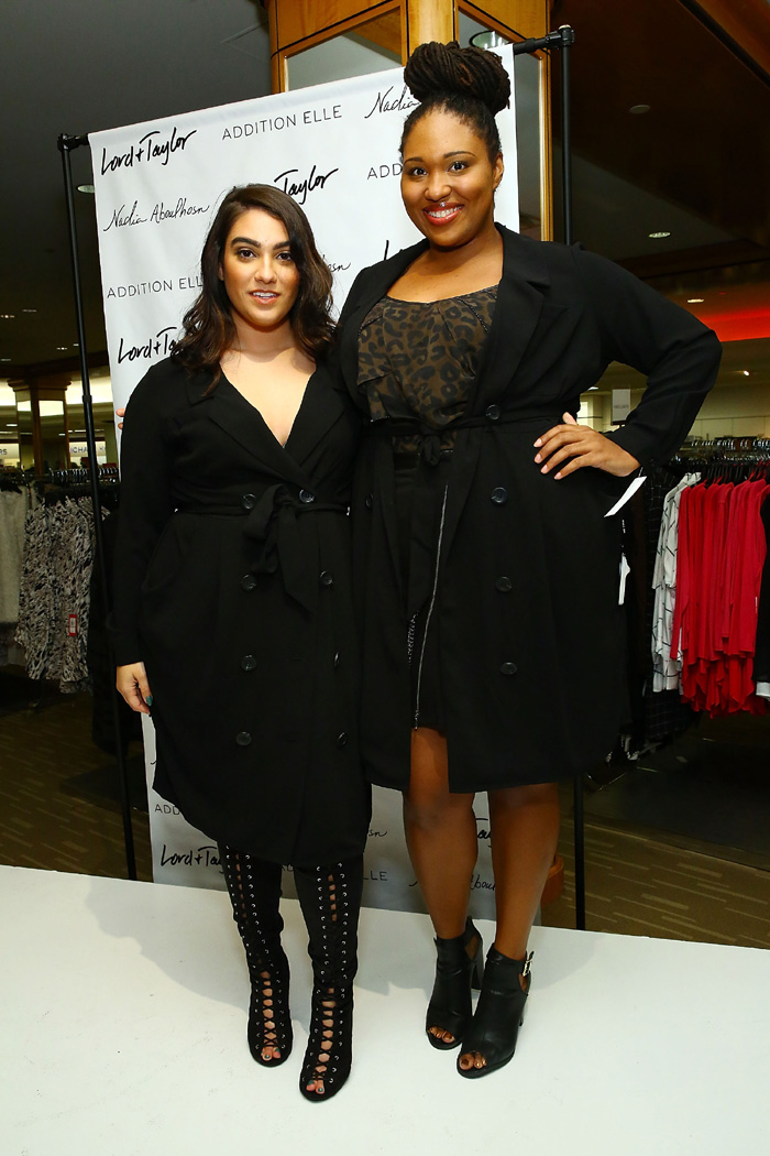 Nadia Aboulhosn (left) poses with blogger Shainna Tucker of A Thick Girl's Closet wearing The Nadia Aboulhosn x Addition Elle Capsule Collection during Addition Elle Event with Nadia Aboulhosn at Lord & Taylor on October 7, 2015 in New York City. (Photo by Astrid Stawiarz/Getty Images for Lord & Taylor)