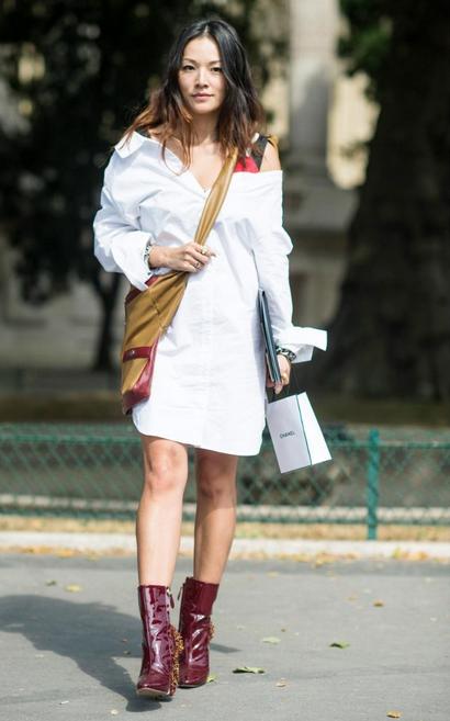 Tina Leung at Paris Haute Couture Week AW15 Credit: Rex