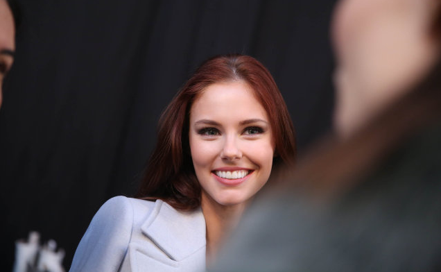 NEW YORK, NY - FEBRUARY 16: Alyssa Campanella appears backstage at the Carolina Herrera fashion show during Mercedes-Benz Fashion Week Fall 2015 at The Theatre at Lincoln Center on February 16, 2015 in New York City. (Photo by Rob Kim/WireImage)