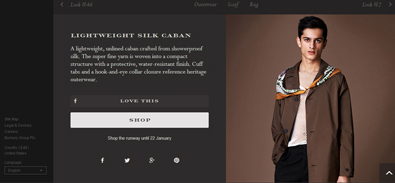 Burberry runway ecommerce feature for menswear fall/winter 2014 show