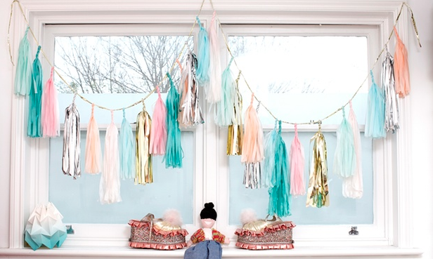 Bright and beautiful: window decorations. Photograph: Katherine Anne Rose for the Observer