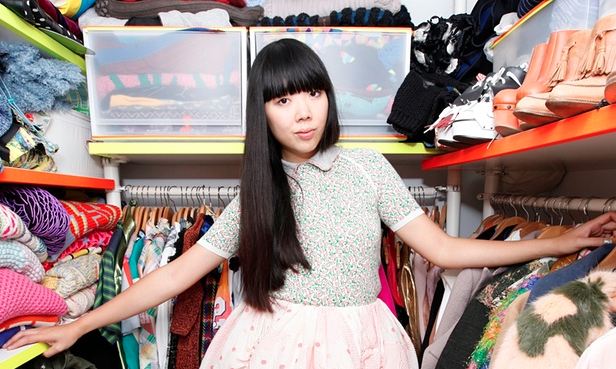 Eye candy: Susie in her packed walk-in wardrobe. Photograph: Katherine Anne Rose for the Observer