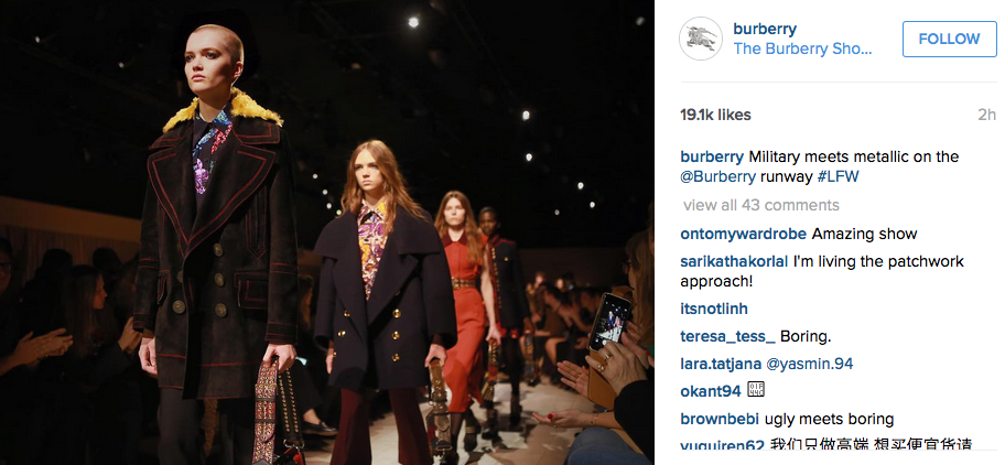 From Burberry 2016 Show, London Fashion Week