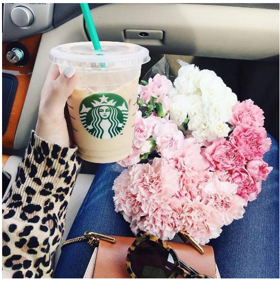 "The ""filler"": Posting images of simple, pretty objects breaks up the day-after-day Instagrams of herself in clothes, Covington says. Adding a Starbucks cup seems to always hike the likes, too. (Covington says Starbucks isn't one of her sponsors and doesn't pay for product placement.) Instagram photo courtesy of Caitlin Covington"