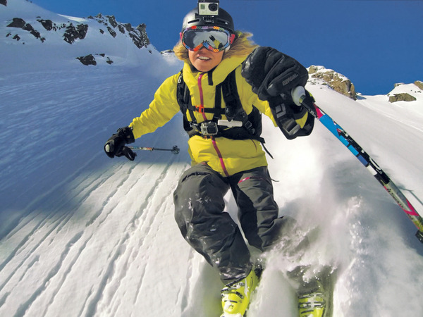 "This undated product image released by GoPro shows the GoPro digital camera mounted on a ski helmet, a hot item on ski slopes and other settings. Brian Stacey, director of new product development for Tauck, the cruise and tour company, likes the camera because it attaches ""to pretty much anything _ your helmet, arm, leg, canoe"" and can shoot images while you're moving. (AP Photo/GoPro)"