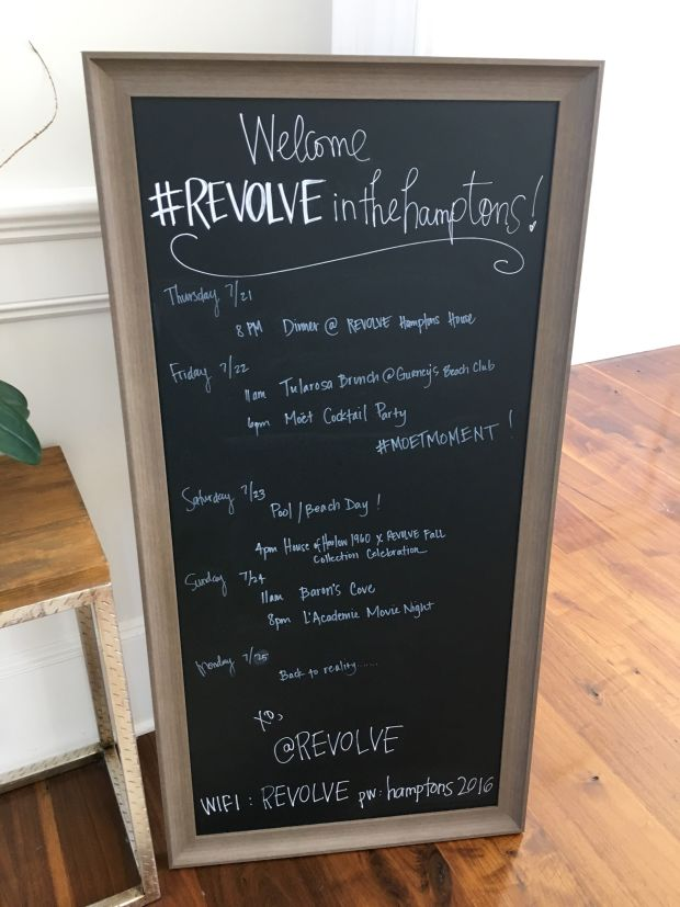 A sample #RevolveintheHamptons weekend schedule.