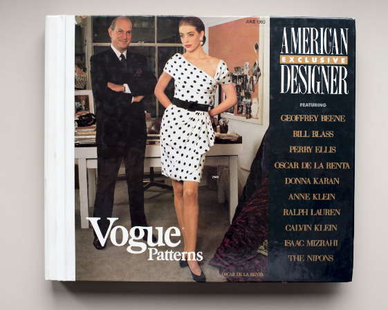 Vogue Patterns, which is both a monthly magazine and pattern catalogue published by the McCall Pattern Company, was always considered the high-fashion line for the advanced sewer, as it remains today. Oscar de La Renta poses on the cover of the June 1990 issue of the catalogue with a model wearing one of his licensed patterns. Credit: Karsten Moran for The New York Times
