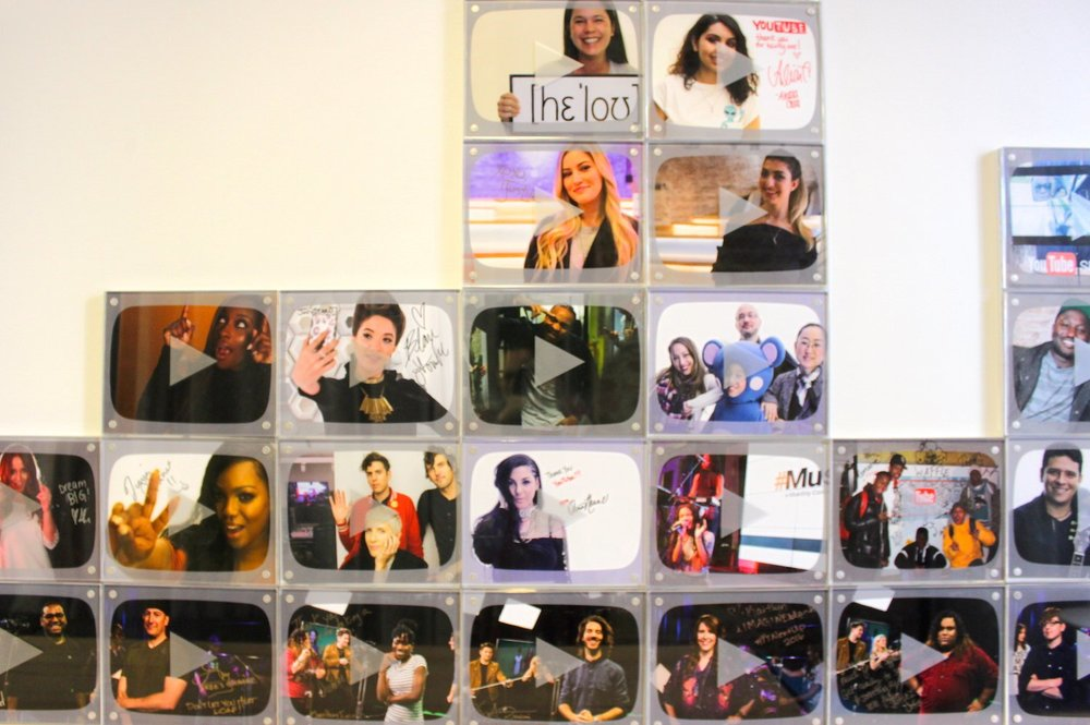 """YouTube's """"wall of fame"""" at its New York City offices.Leanna Garfield/Business Insider"""