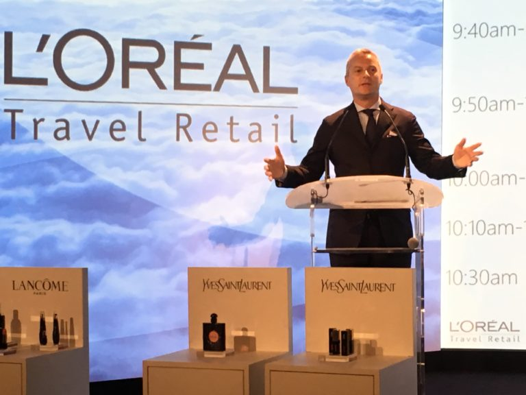 L'Oréal Travel Retail Managing Director Vincent Boinay addresses the TFWA World Exhibition