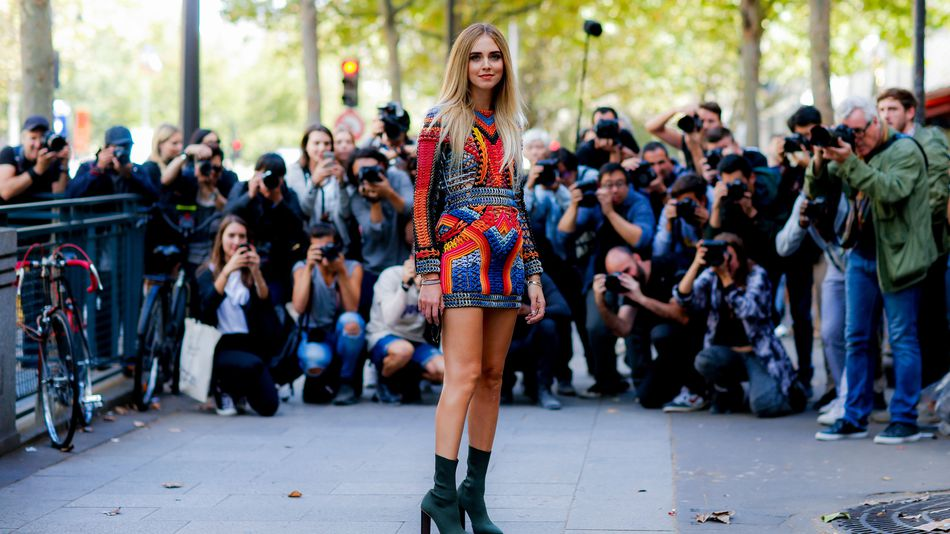 Street style, blogger Chiara Ferragni -- The Blonde Salad -- arriving at Balmain Spring Summer 2017 show held at Hotel Potocki, in Paris, France, on 29 September 2016. MAGE: SIPA USA VIA AP