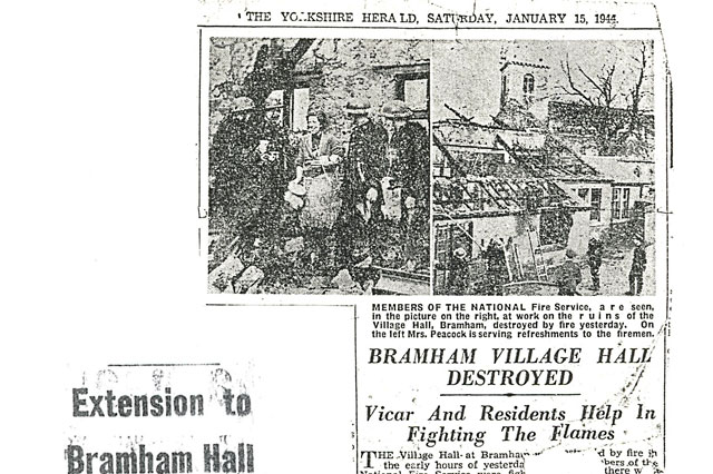 1944, news of Village Hall fire hits the papers