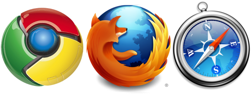 Image: The logos for Google Chrome, Firefox and Safari browsers