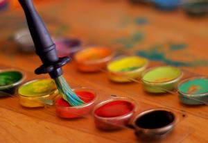 a tray of artist paints