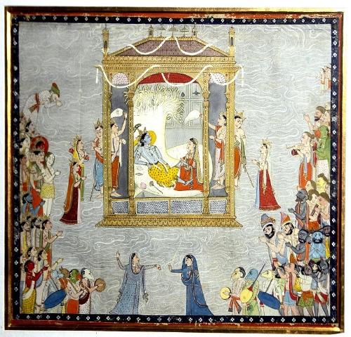 Sheshsayi Vishnu et Lakshmi appréciant les festivités. National Museum, New Delhi. Chamba, Pahari, Yann (Own work) [Public domain], via Wikimedia Commons