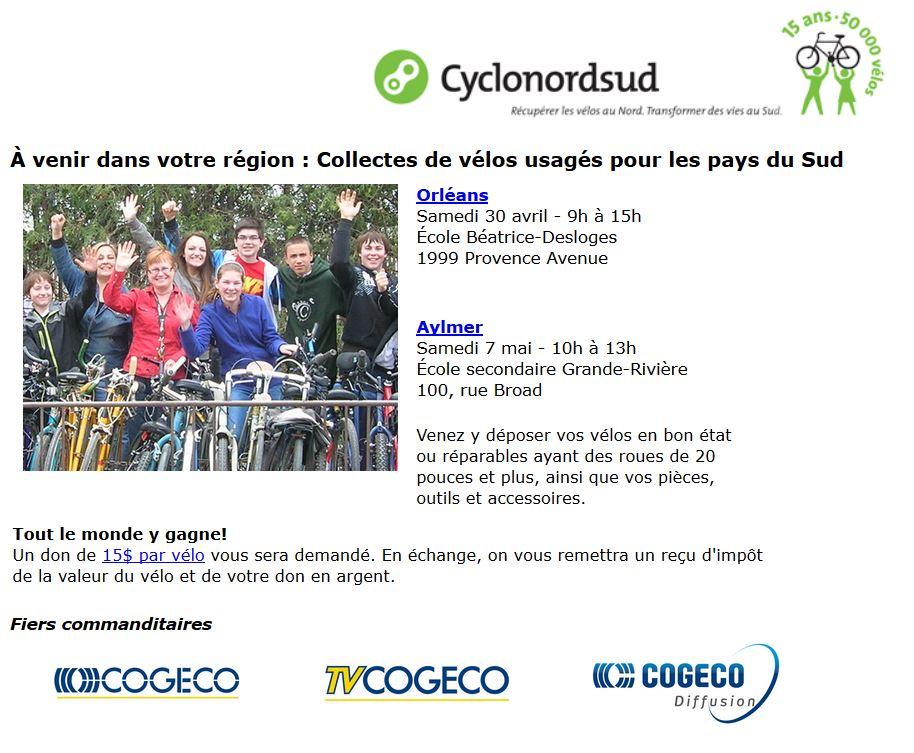 Plus d'information ou pour vous inscrire au bulletin de Cyclonordsud, visitez leur site  ici