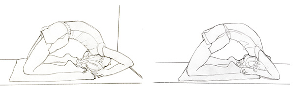 KAPOTASANA (Pigeon Pose) with Block and Bolster