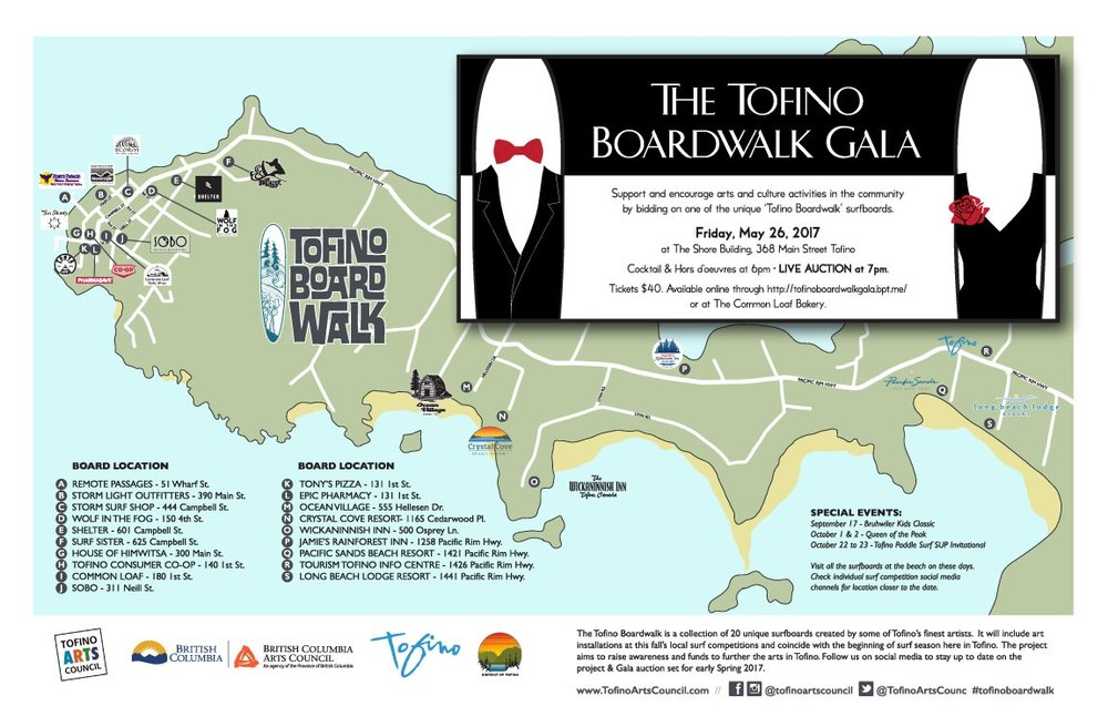 Check them out around Tofino before they come down May 25th.