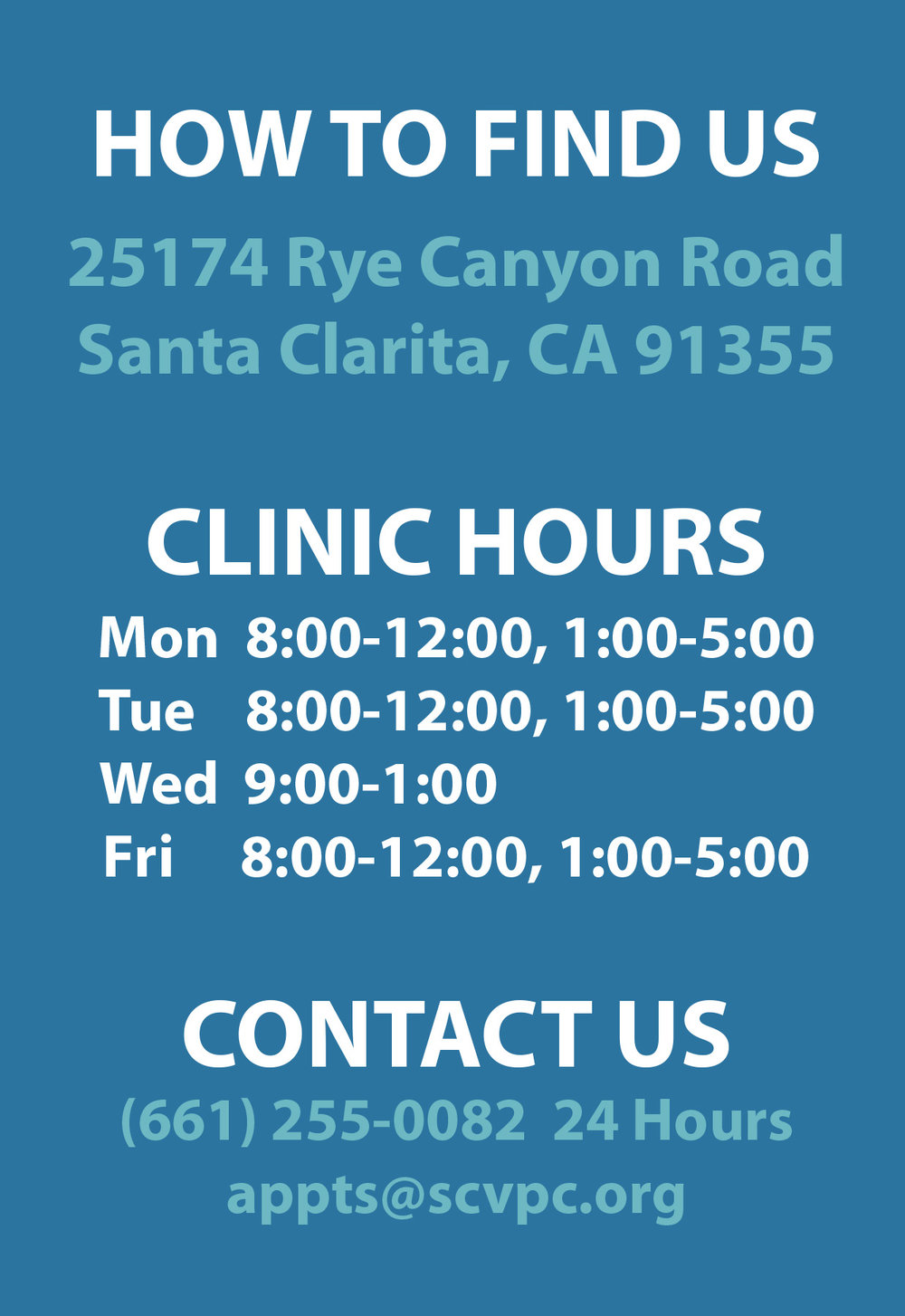SCV Pregnancy Center Location and Hours