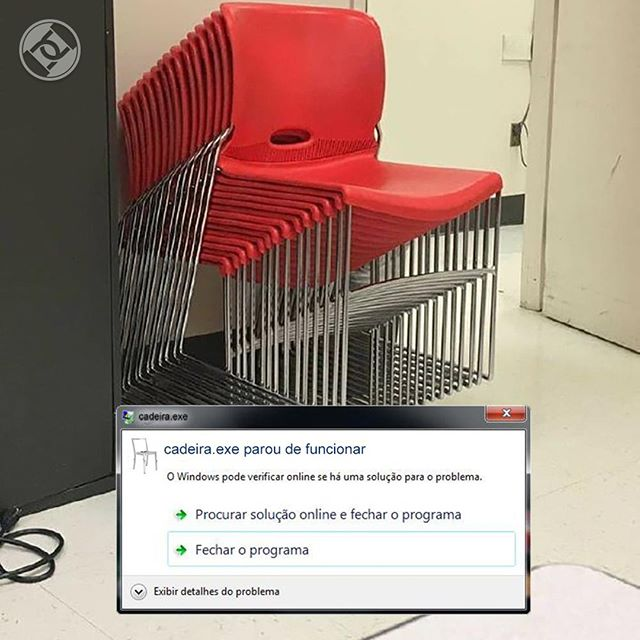 Só podia ser! Vamos ter que abrir o cadeira.exe de novo hueheu #Roadsec #DontStopHacking #Windows #StoppedWorking