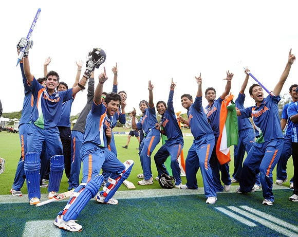 The Indian team celebrate winning the 2012 ICC U19 Cricket World Cup Credit: 2012 Ian Hitchcock-ICC, Rediff.com