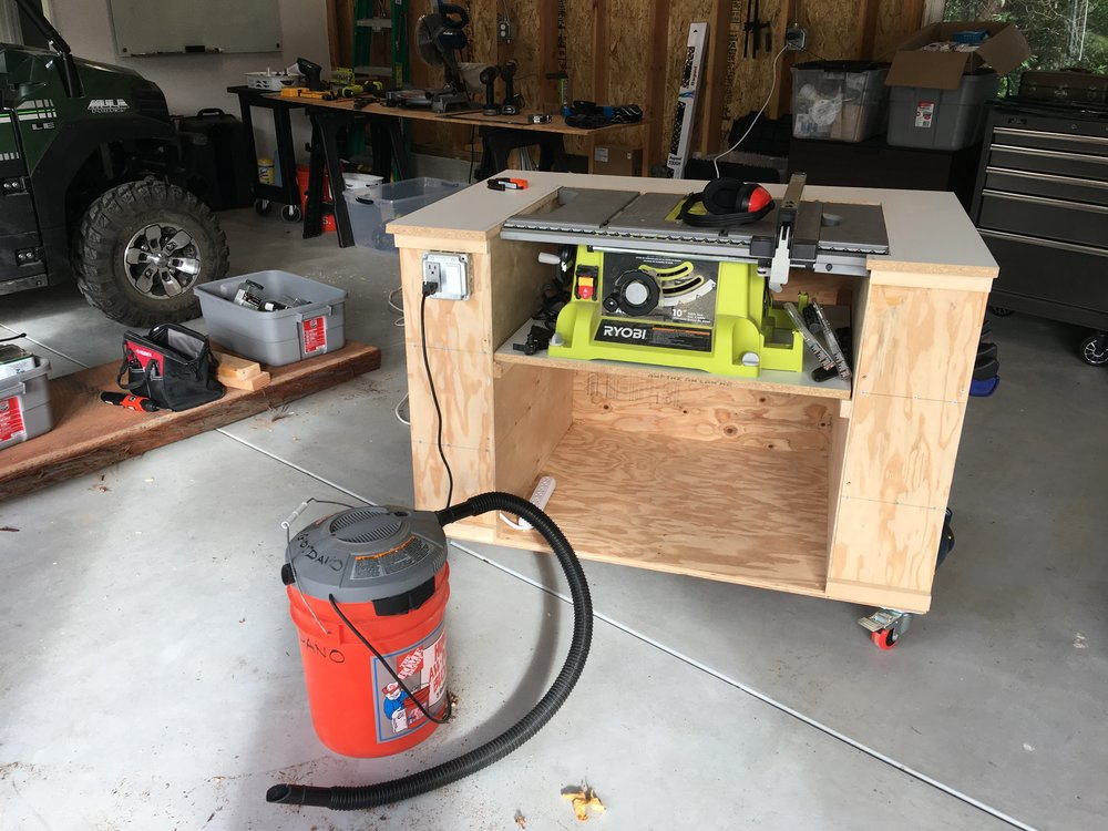 Finished rolling table saw station!