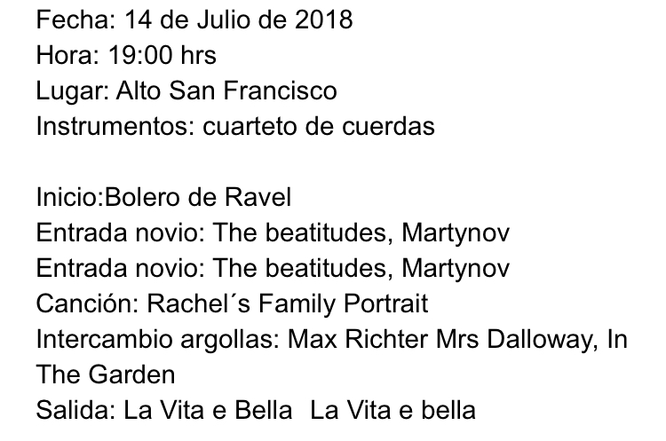 Lista de ceremonia matrimonio canciones Agez Chile
