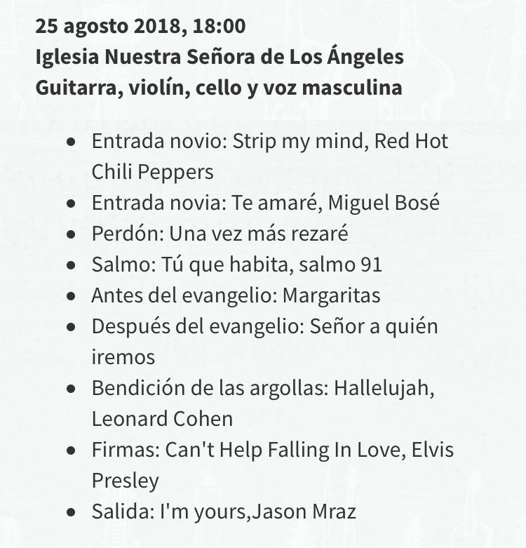 Lista de canciones ceremonia matrimonio repertorio coro iglesia Agez Chile