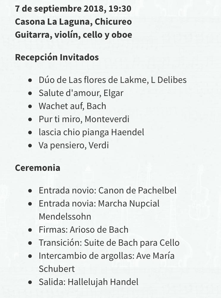 Lista de repertorio canciones Músicos para eventos Agez Chile