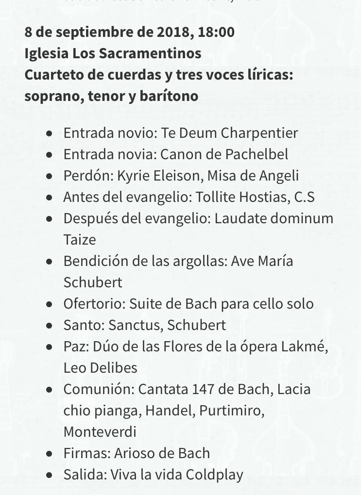 Lista repertorio canciones de matrimonio Musicos Chile Agez