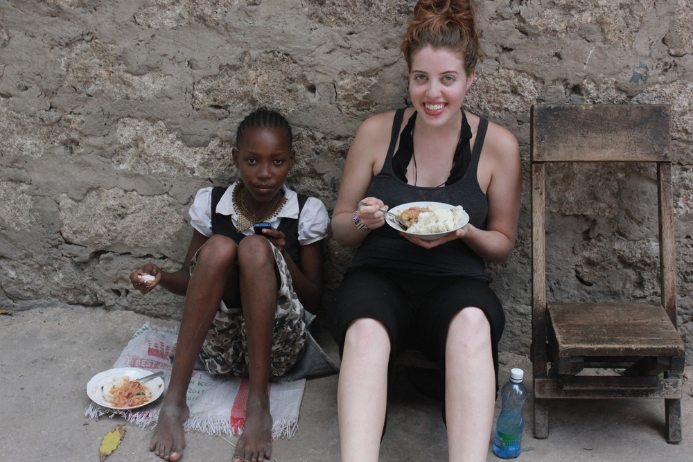 12 year old City and myself sharing lunch outside her family's home, 2011.