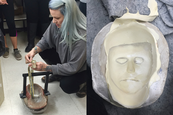 After mixing the foam latex ingredients and pouring into the mold, we baked it in the oven. My teacher Karrieann showed us how to break open the mold to reveal the mask!
