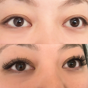 Before and after Natural Glam! These lashes gently enhance your eyes. What a difference lash extensions make!! And the best part is, this set looks very natural, no one will be able to tell you weren't naturally born with these beautiful lashes!
