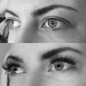 Before and after Volume Glam! These lash extensions make your lash line look thicker and also helps to make you feel like you don't need to wear as much makeup, saving you time in the morning! This is the most popular style since 2 faux lashes are applied to one real lash which creates a fuller, more glamorous look. This set also lasts up to 2 weeks longer.